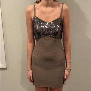 Guess Taupe Bandage Dress with Sequin Top